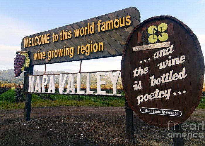 Agriculture Greeting Card featuring the photograph Welcome Sign To Napa Valley by George Oze