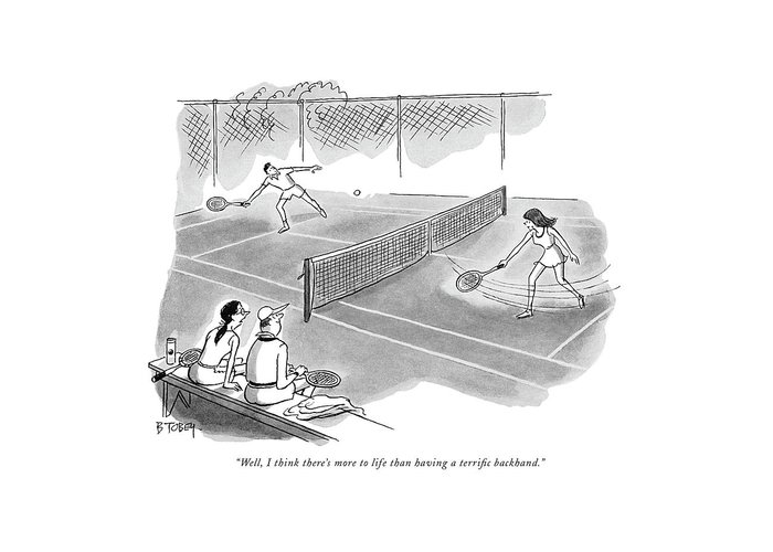 Tennis Player Drawings Greeting Cards