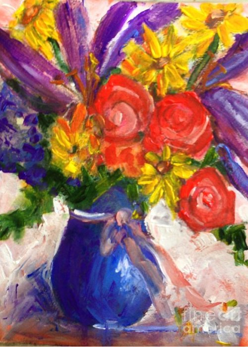 Floral Greeting Card featuring the painting Wendy's Floral by Sherry Harradence