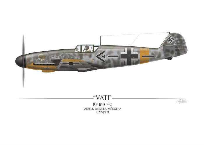 Aviation Greeting Card featuring the painting Werner Molders Messerschmitt Bf-109 - White Background by Craig Tinder