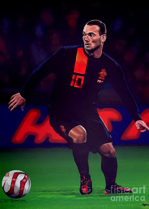 Wesley Sneijder Greeting Card featuring the painting Wesley Sneijder by Paul Meijering