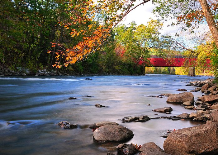 West Cornwall Greeting Card featuring the photograph West Cornwall Covered Bridge- Autumn by Thomas Schoeller