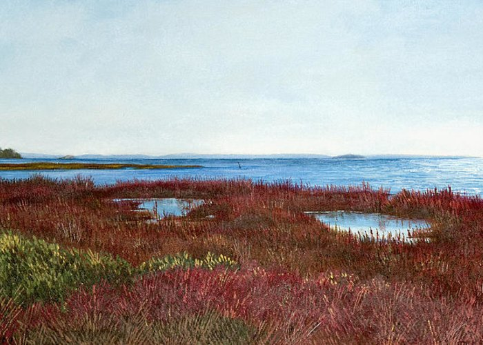 West Florida. Coast Panhandle Greeting Card featuring the painting West Florida Panhandle Looking Towards The Gulf by Paul Gaj