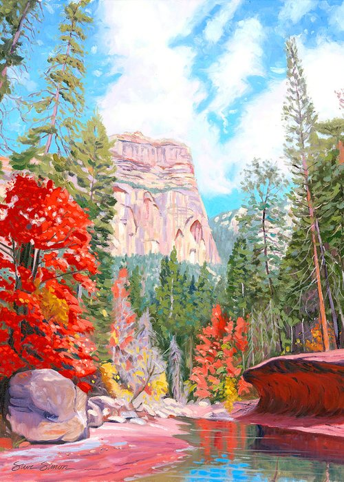 Sedona Greeting Card featuring the painting West Fork - Sedona by Steve Simon