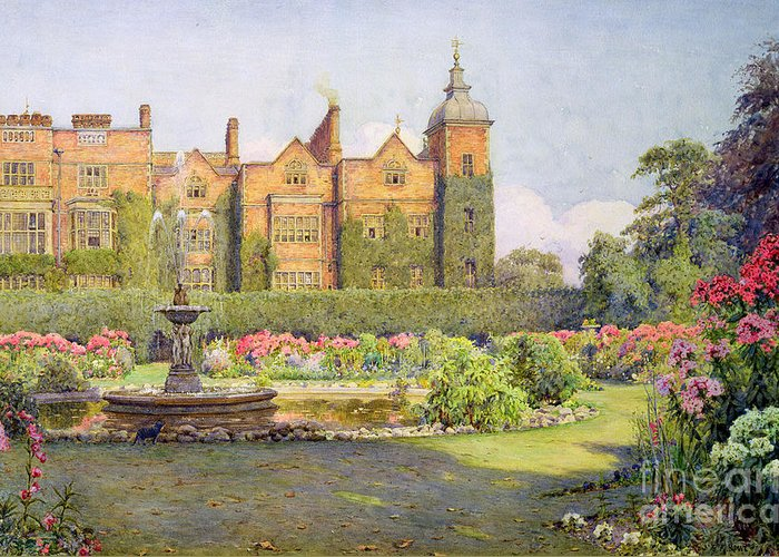Fountain Greeting Card featuring the painting West Front And Gardens Of Hatfield by Ernest Arthur Rowe