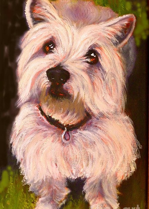 Dog Greeting Card featuring the painting West Highland Terrier Reporting For Duty by Susan A Becker