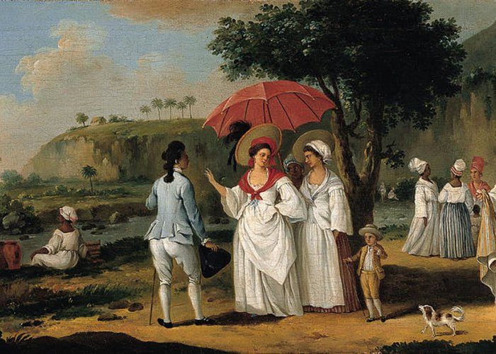 Agostino Brunias Greeting Card featuring the painting West Indian Landscape With Figures Promenading Before A Stream by Agostino Brunias