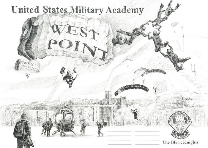 Usma Greeting Card featuring the painting Signature Lines - The Black Knights by Bill Jackson