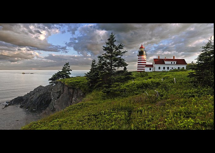 Lighthouse Greeting Card featuring the photograph West Quoddy Head Lighthouse Panorama by Marty Saccone