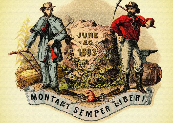 Lithograph Greeting Card featuring the photograph West Virginia Coat Of Arms - 1876 by Mountain Dreams