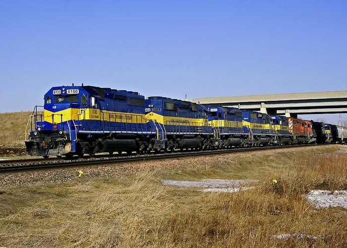 Train Greeting Card featuring the photograph Westbound Train by Steve Yezek