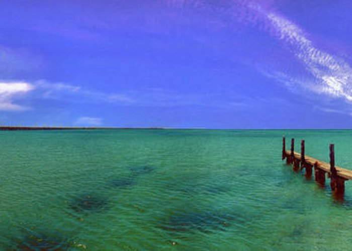 Western Australia; Beach Perth Panorama; Margaret River; Southern Hemisphere; Longest Wooden Jetty Greeting Card featuring the photograph Western Australia Busselton Jetty by David Zanzinger