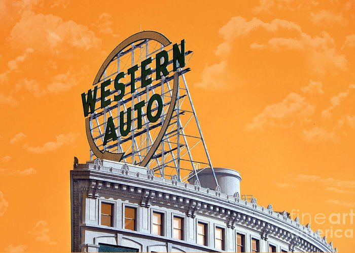 Andee Design Western Auto Sign Greeting Card featuring the photograph Western Auto Sign Artistic Sky by Andee Design