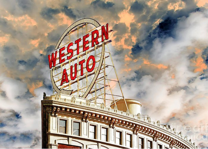 Western Auto Sign Downtown Kansas City 2 Greeting Card For Sale By