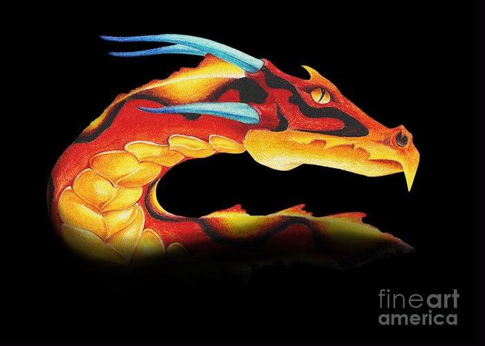 Dragon Greeting Card featuring the digital art Western Dragon by Melissa A Benson