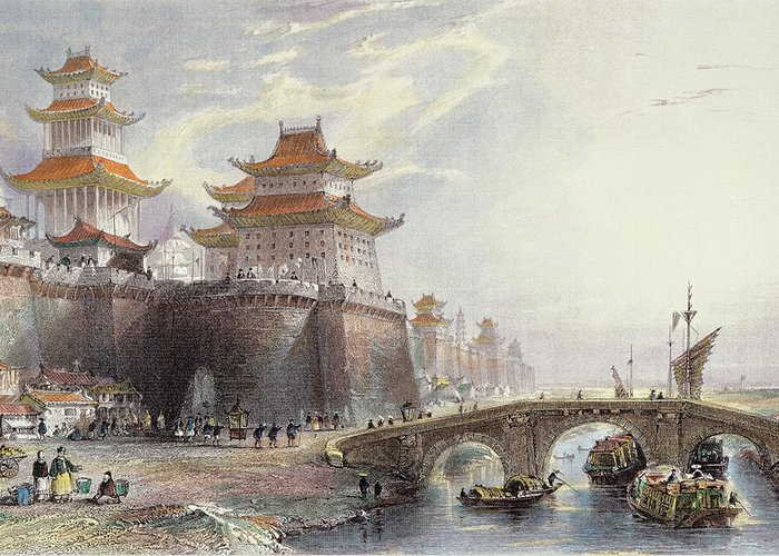 Wall Greeting Card featuring the drawing Western Gate Of Peking, C.1850 by Thomas Allom