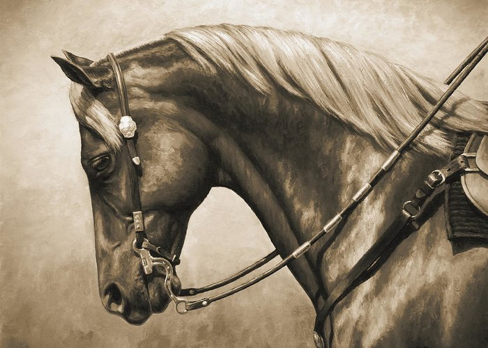 Quarter Horses Paintings Greeting Cards