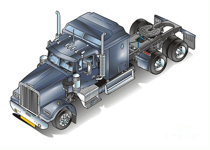 Truck Greeting Card featuring the painting Western Star Tuck by Christian Simonian