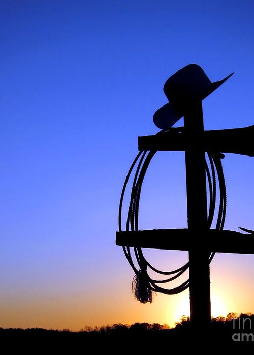 Western Greeting Card featuring the photograph Western Sunset by Olivier Le Queinec