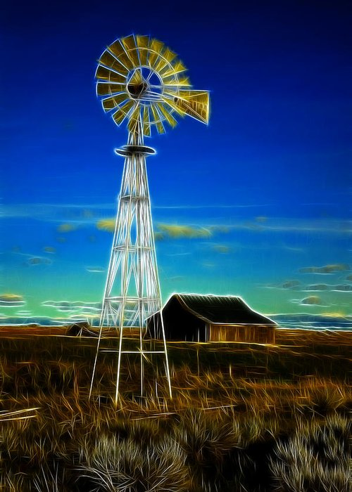 Cabin Greeting Card featuring the photograph Western Windmill by Steve McKinzie