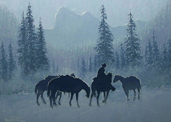 Cowboy Greeting Card featuring the painting Western Winter by Randy Follis