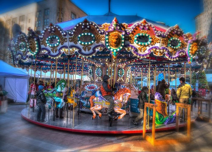 Seattle Greeting Card featuring the photograph Westlake Carousel by Spencer McDonald