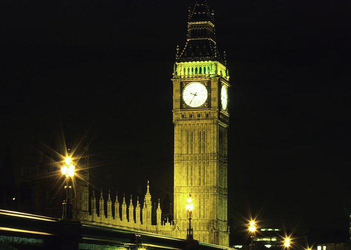 Gothic Style Greeting Card featuring the photograph Westminster Bridge And Big Ben At by Hisham Ibrahim