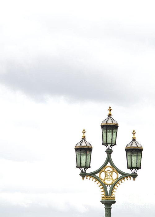 London Greeting Card featuring the photograph Westminster Bridge Lamppost by Ann Horn