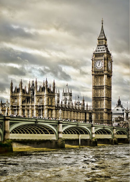 Houses Of Parliament Greeting Card featuring the photograph Westminster by Heather Applegate