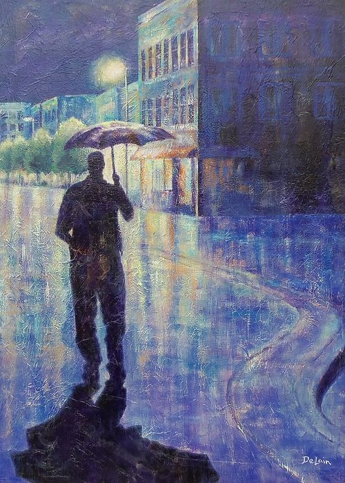 Sue Delain Greeting Card featuring the painting Wet Night by Susan DeLain