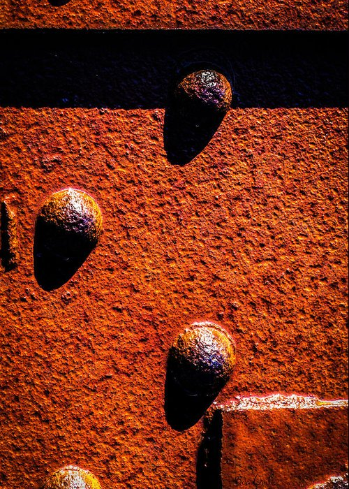 Abstract Greeting Card featuring the photograph Wet Rivets by Bob Orsillo