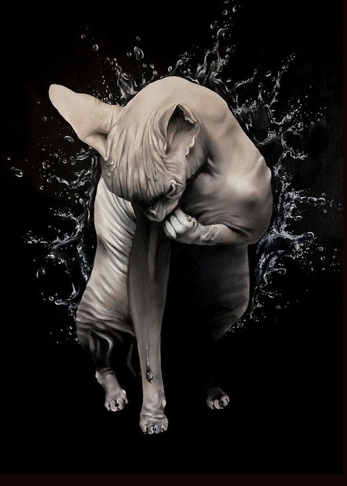 Original Greeting Card featuring the painting Wet Sphynx by Stephanie LeVasseur