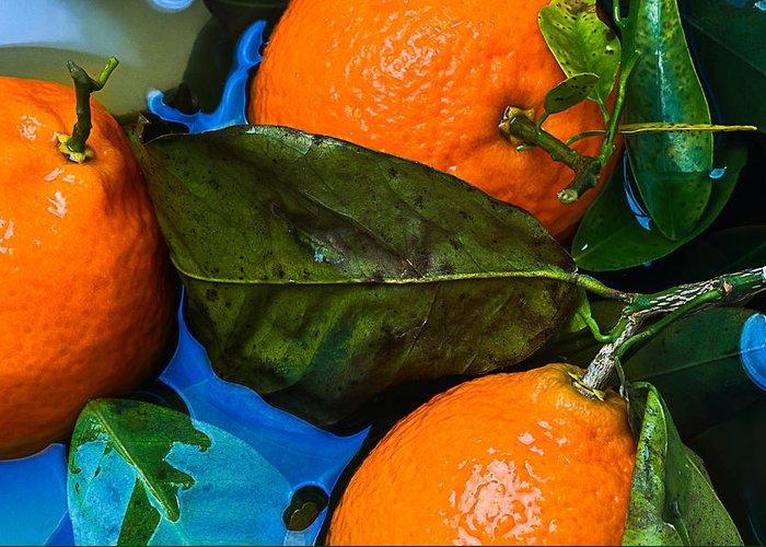 Mandarin Greeting Card featuring the photograph Wet Tangerines by Alexander Senin
