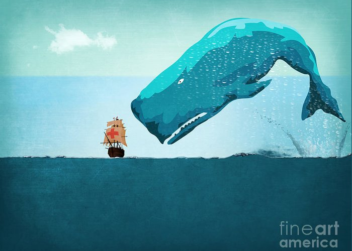 Moby Dick Greeting Card featuring the digital art Whale by Mark Ashkenazi