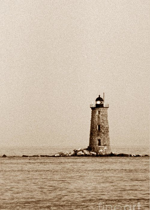 Lighthouses Greeting Card featuring the photograph Whaleback Lighthouse by Skip Willits