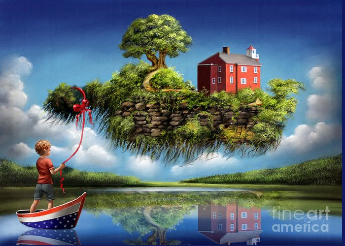 Surreal Greeting Card featuring the painting What a Wonderful World by - Artificium -