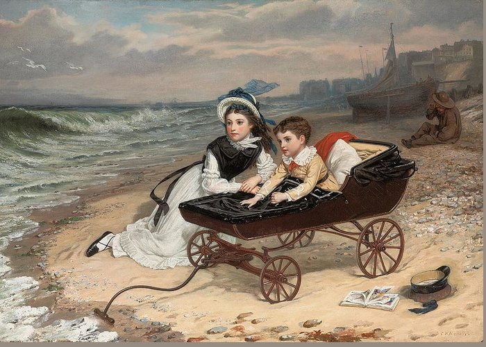 What Are The Wild Waves Saying; Character; Characters; Florence Dombey; Paul Dombey; Male; Female; Child; Children; Childhood; Victorian; Dickensian; Seaside; Beach; Young; Perambulator; Sentimental; Pram; Windy; Rough; Coast; Coastal; Sound; Noise; Surf; Crashing; Listening; Seated; Tide; Sea Foam; Carriage; Stroller Greeting Card featuring the painting What Are The Wild Waves Saying? by Charles Wynne Nicholls