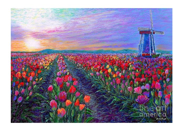 Landscape Greeting Card featuring the painting Tulip Fields, What Dreams May Come by Jane Small