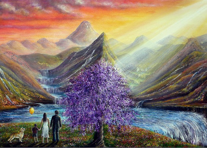 Robin Williams Greeting Card featuring the painting What Dreams May Come by Ann Marie Bone