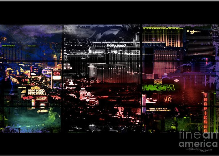 Las Vegas Greeting Card featuring the mixed media What Happens In Vegas... by Christine Mayfield