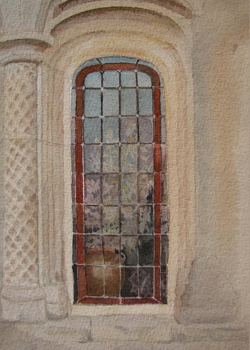 Window Greeting Card featuring the painting What Is Behind The Window Pane by Mary Ellen Mueller Legault
