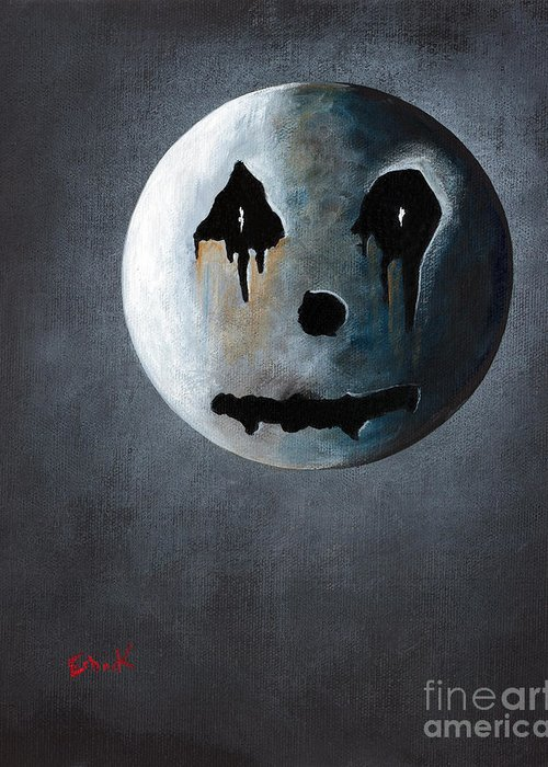 Moon Greeting Card featuring the painting What It's Like Without You - Gothic By Shawna Erback by Shawna Erback