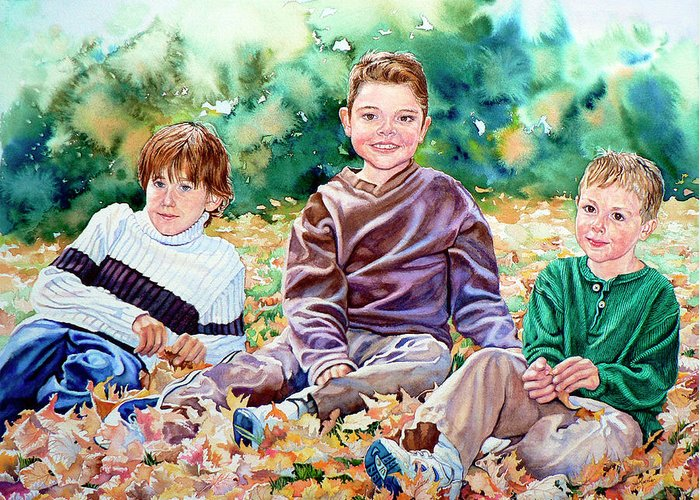 Children Action Portrait Greeting Card featuring the painting What Leaf Fight by Hanne Lore Koehler
