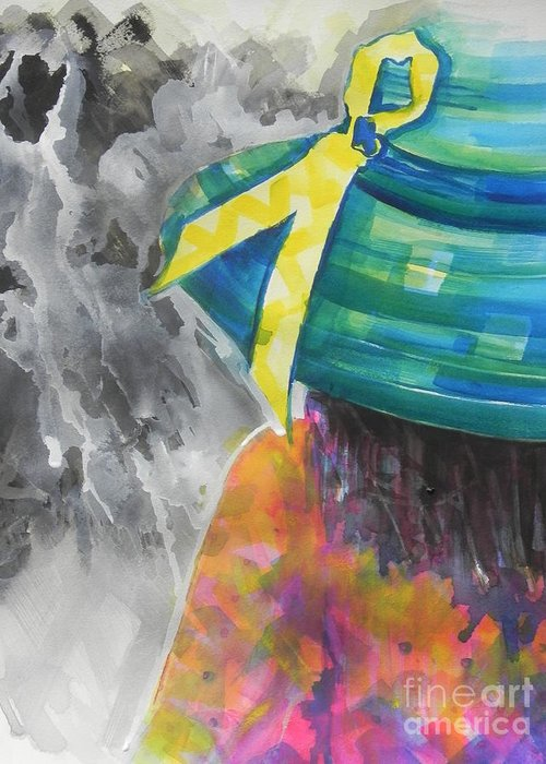 Watercolor Painting Greeting Card featuring the painting What Lies Ahead Series....chaos by Chrisann Ellis