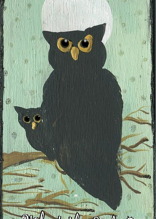 Owls Greeting Card featuring the painting What The Who? Owls by Sylvia Pimental