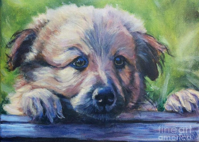 Pet Greeting Card featuring the painting Whatcha doin by Stephanie Allison