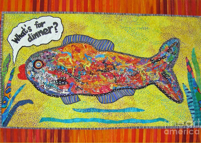 Fish Greeting Card featuring the tapestry - textile What's For Dinner by Susan Rienzo