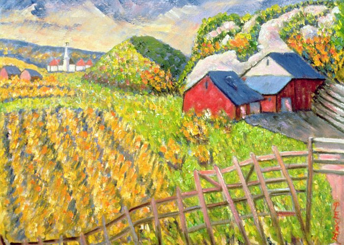 Farm Greeting Card featuring the painting Wheat Harvest Kamouraska Quebec by Patricia Eyre