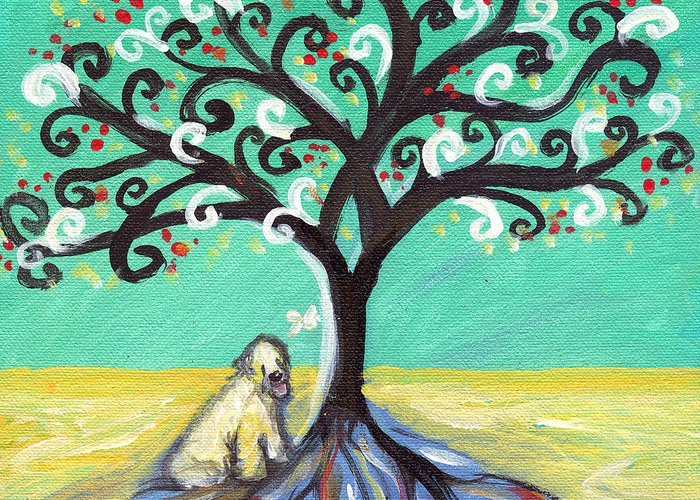 Wheaten Terrier Greeting Card featuring the painting Wheaten Terrier Spiritual Tree by Angie Ketelhut