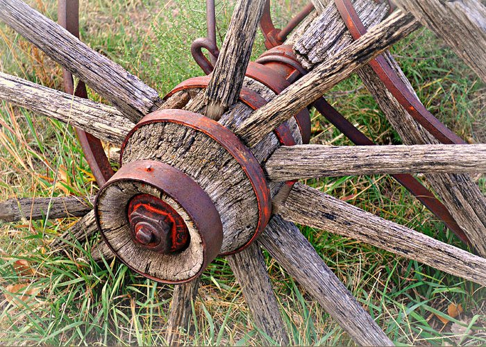 Wagon Wheel Greeting Card featuring the photograph Wheel Of Old by Marty Koch